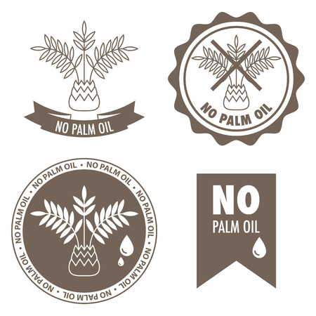 aceites: Conjunto de cuatro etiquetas - sin aceite de palma en el interior. Vectores