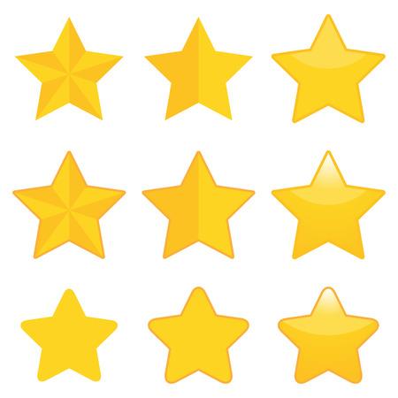 golden star: Set of nine golden stars in different style.