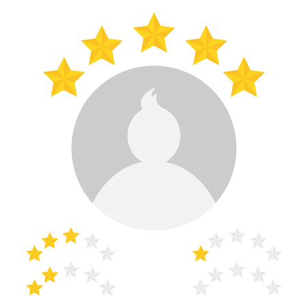 five star: Sample user profile with star rating from zero to five.