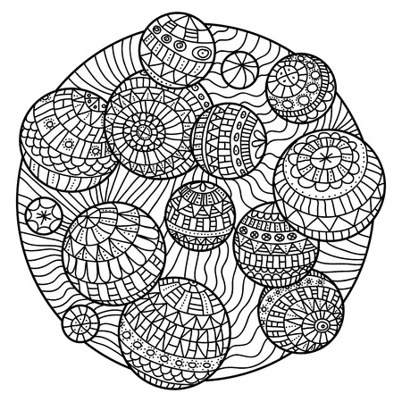 adults: Abstract colorign book for adults with balls. Illustration