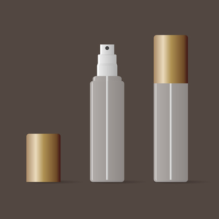 perfume woman: Transparent vector spray bottle mock up with bronze cover.