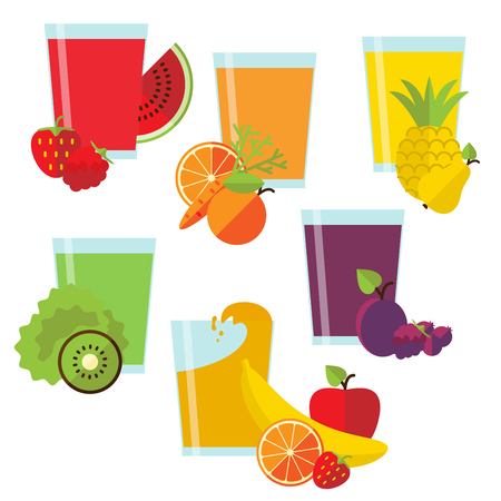 mixed drink: Set of six glasses with fresh juice and fruit in flat style.