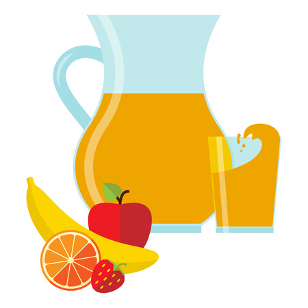 multivitamin: Vector illustration in flat style with jug and glass with fresh juice and fruit.