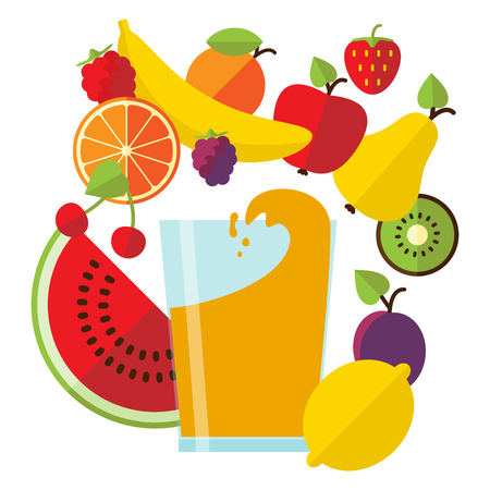 multivitamin: Vector illustration in flat style with glass of fresh juice and tasty fruit.