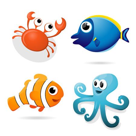 payasos caricatura: Conjunto de cuatro vectores animales de mar cangrejo, bodlok, peces payaso y el pulpo. Vectores