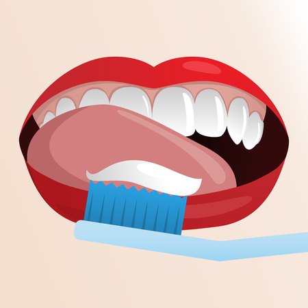 licking: Vector illustration with womans mouth with red lips licking her clean teeth and toothbrush with paste.