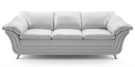 This 3D image  white leather sofa