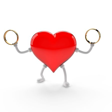 This 3D image of the character of the heart, holding a wedding ring.