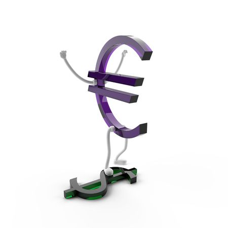 This 3D image of the euro character is rejoicing, because it won over the dollar. Stock Photo