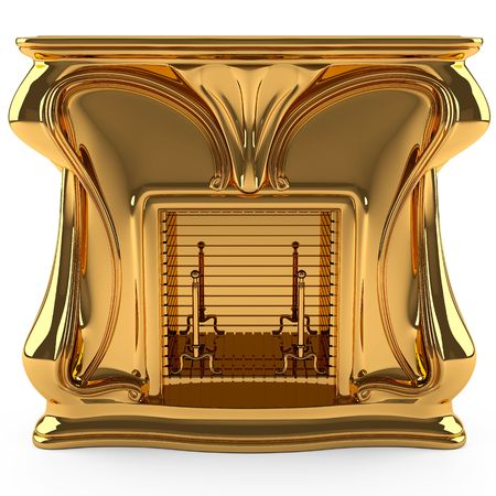 This 3D image fireplace gold