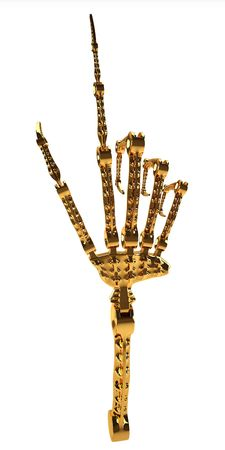 This 3D image hand gold robotic