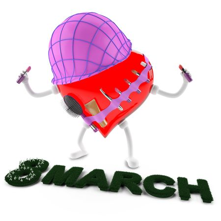 This 3D image character heart of 8 march