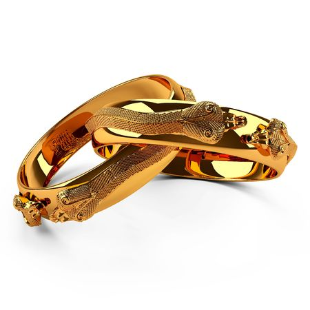 This 3D image gold ring snake