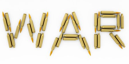 In this 3D image laid out the word WAR, with bullets of AK-47 Stock Photo