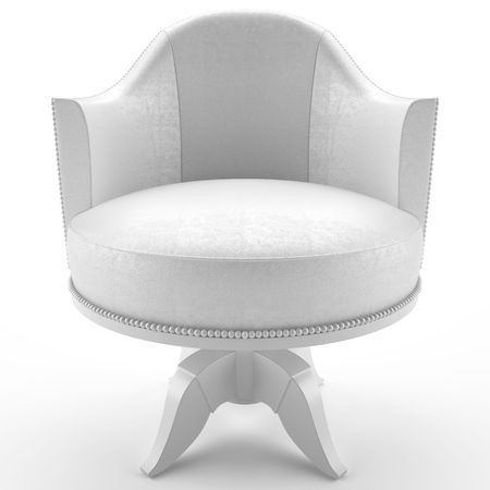 leather armchair: This 3D image white leather armchair