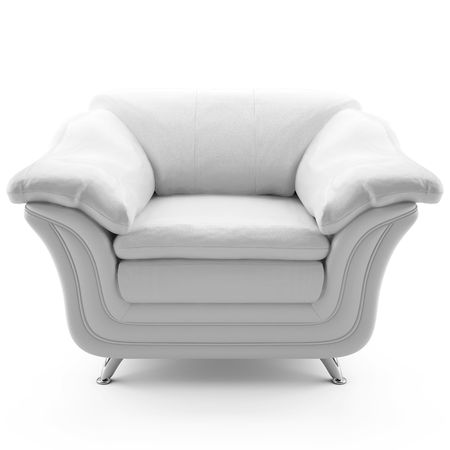 This 3D image white leather armchair