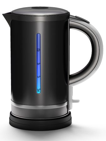 This 3D image black teapot. Stock Photo