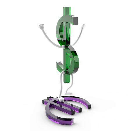 This 3D image character of the U.S. dollar, which won the euro.