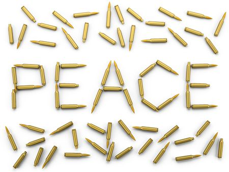 In this 3D image laid out the word PEACE, with bullets of AK-47 Stock Photo
