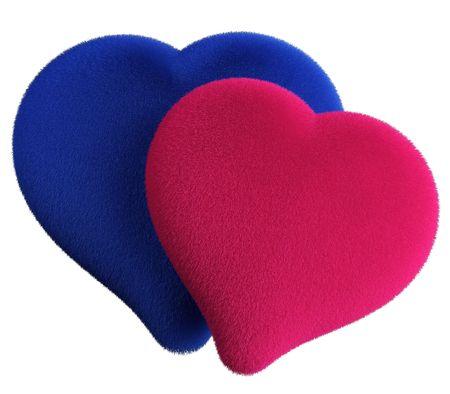 3D two loving hearts woolen
