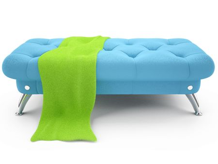 3D blue leather ottoman with bright green fluffy towel