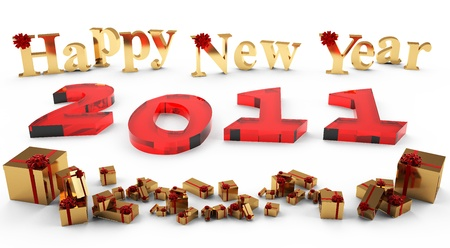 3D image of the new year 2011, of red glass. Inscription New Year and gifts of gold, adorned with a red bow and ribbons.