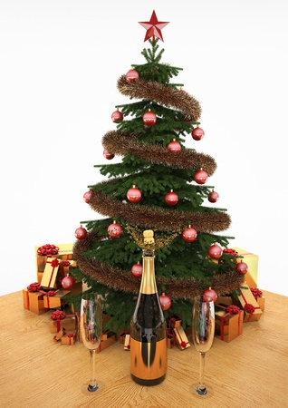 3D images of Christmas tree on a wooden table with gifts and champagne. Stock Photo