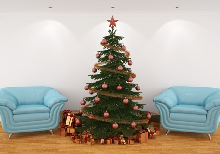 3d image Christmas tree with presents in the interior with blue leathern chairs