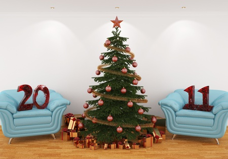 3d image Christmas tree in the interior with blue leathern chairs, and 2011 from water Stock Photo