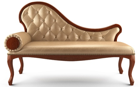 3 d sofa classic leather beige Stock Photo