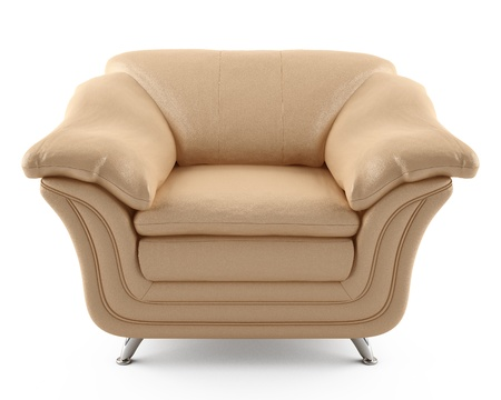 This 3D image beige leather armchair