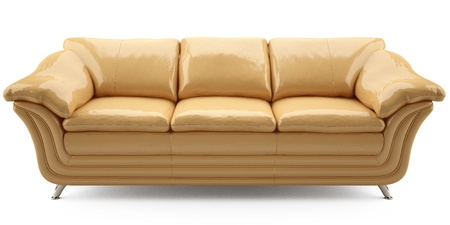 yellow lither sofa Stock Photo