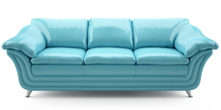 blue lither sofa