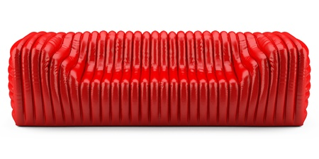 wave red sofa leather glossy Stock Photo