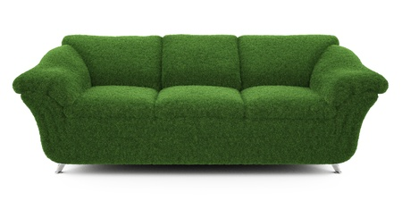 objects: sofa grass