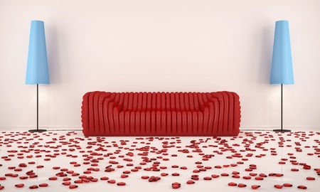 room with red sofa and hearts on the floor with the blue floor lamps