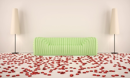 room with green sofa and hearts on the floor with the beige floor lamps photo