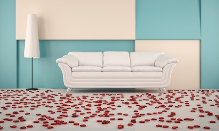 room with white sofa and hearts on the floor with the white floor lamps photo