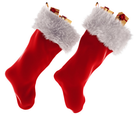Christmas stocking in 3d isolated on white background