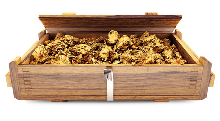 gold ore in a wooden box 3d
