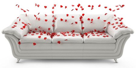 3D image of a white leather sofa with a glass of red hearts