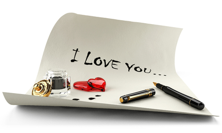 a 3 d love messages, I love you on a white sheet. Also on the picture there is a pen and inkwell and red heart