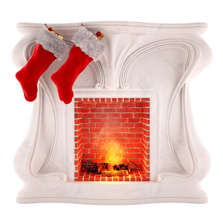 Christmas fireplace decoration isolated on white background in 3d