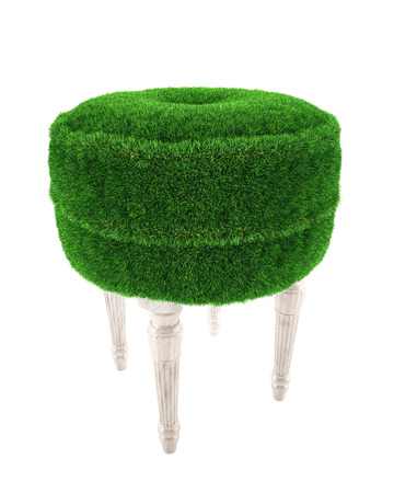 padded stool from a grass with wooden legs in 3d