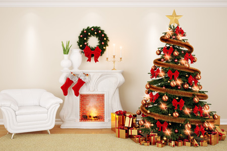 A decorate living room at Christmas Time with fireplace, firtree and armchair in 3d Stock Photo