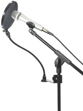 Mikrofon na stojanu s pop filtrem Reklamní fotografie
