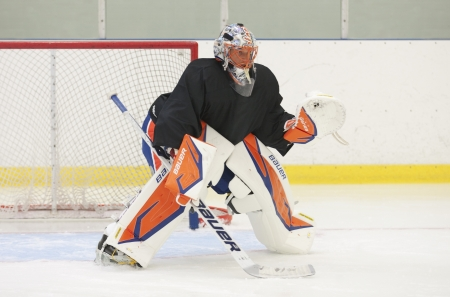 Anders Nilsson - New York Islanders - Summer camp in Sweden for ice hockey goalies (2012-06-27 to 2012-06-30). Stock Photo - 14339009