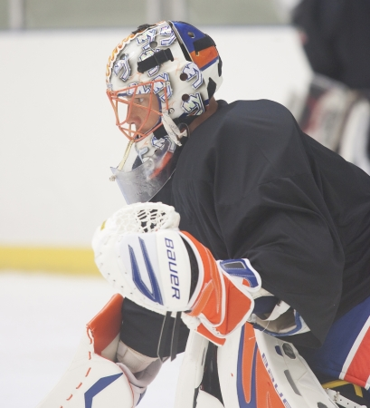 Anders Nilsson - New York Islanders - Summer camp in Sweden for ice hockey goalies (2012-06-27 to 2012-06-30). Stock Photo - 14339012