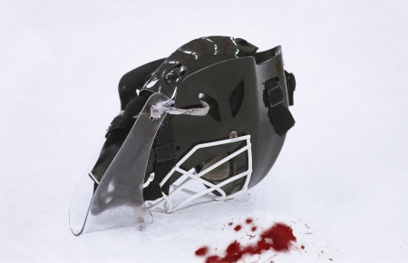 Ice Hockey Goalie Mask - Blood on the ice