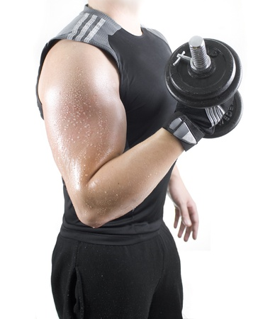 Powerful muscular young man lifting weights Stock Photo - 16661850